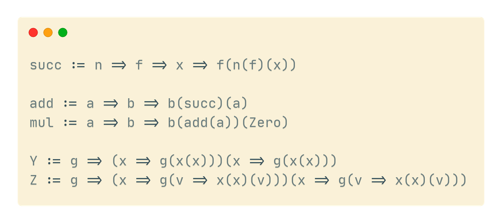 A few lines of the lambda calculus implemented in Ink